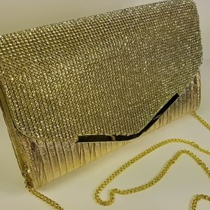 Gold & Rhinestone Adorned Evening Bag. Gorgeous